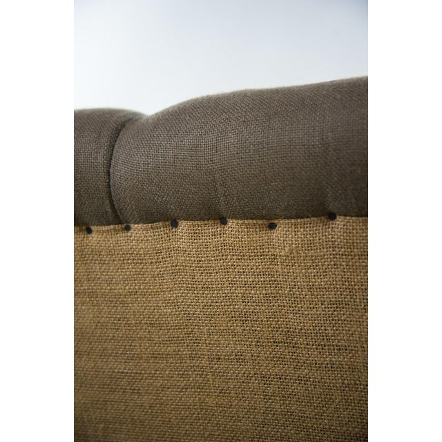 Webster Burlap Linen & Wood Large Tufted Ottoman - Image 8 of 11