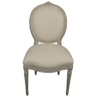 Rose Detail Gustavian Style Side Chairs - A Pair