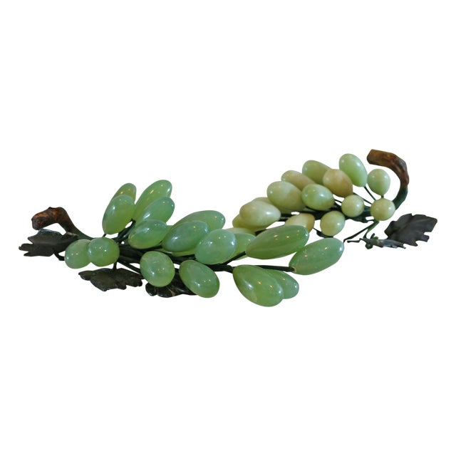 Image of 1940s Shades of Green Stone Grapes Jade Leaves