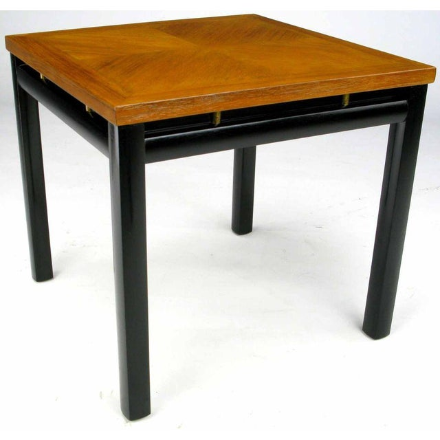 Pair Michael Taylor Bleached Mahogany & Black Lacquer End Tables - Image 4 of 6
