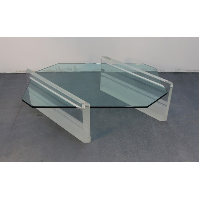 Image of Lucite and Glass Asymmetric Coffee Table