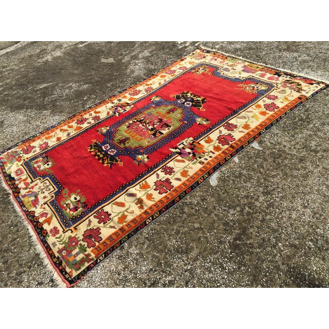 """Vintage Hand Knotted Anatolian Rug - 5'1"""" x 8' - Image 3 of 8"""