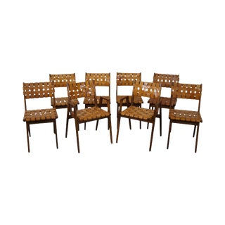Jens Risom Solid Walnut & Woven Leather Dining Chairs- Set of 8