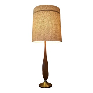 Mid-Century Teak & Brass Lamp