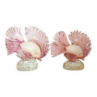 Murano Glass Pink Fishes - A Pair