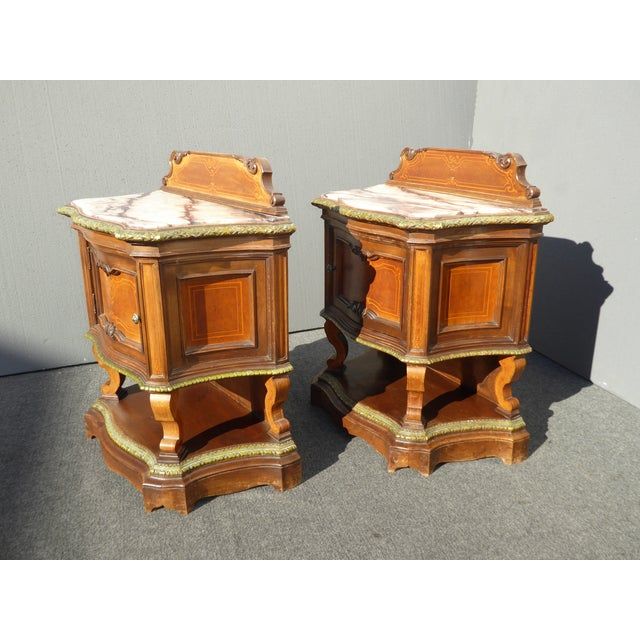 Antique White Marble Top Nightstands - A Pair - Image 4 of 11