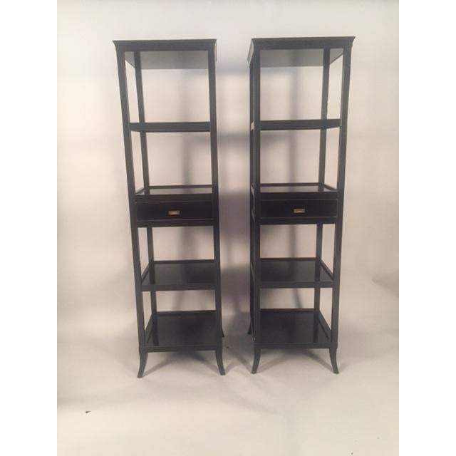 Contemporary Wood Black Lacquered Etagere Shelves - A Pair - Image 2 of 9