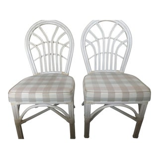 Mid-Century White Wicker Chairs - A Pair