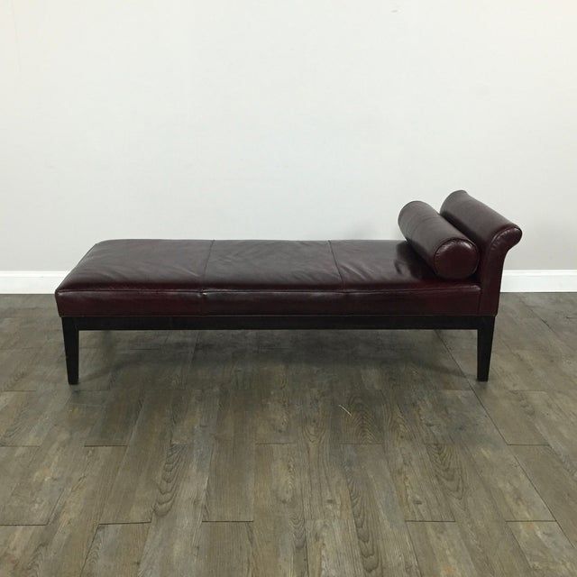 Crate & Barrel Leather Chaise Lounge - Image 2 of 9