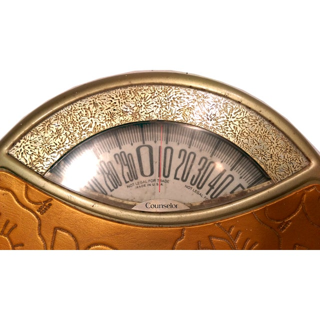 Vintage Counselor Gold Vinyl Rose Bathroom Scale - Image 2 of 6