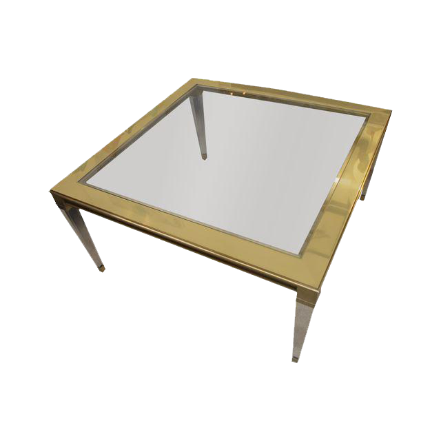 Brass And Lucite Square Coffee Table