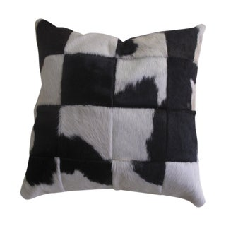 Black & White Cowhide Patch Pillow