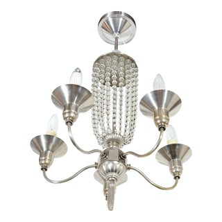 Art Deco Beaded Glass Chandelier in the Manner of Ruhlmann