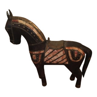 Vintage Teak Wood Brass & Bone Inlaid Horse