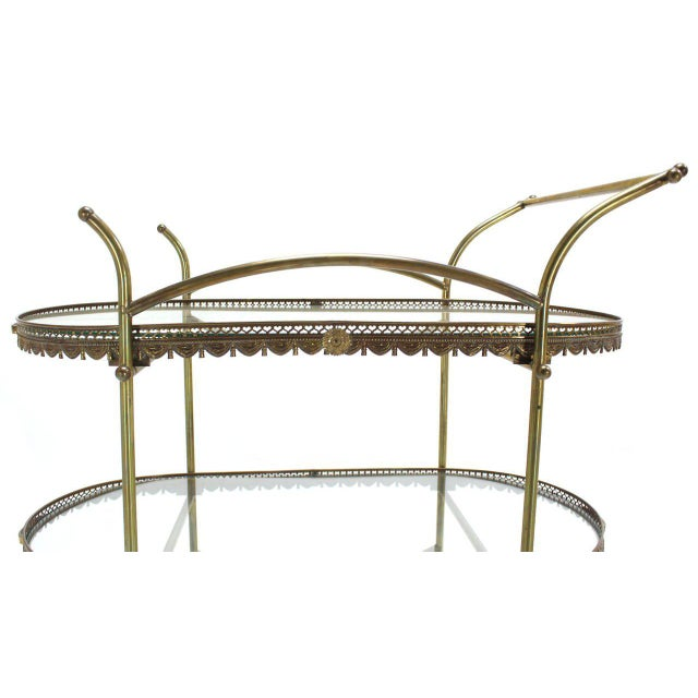 Two-Tier Brass Serving Cart Table with Removable Trays - Image 4 of 10