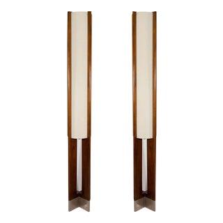 Danish Modern Tall Wooden Floor Lamps - A Pair