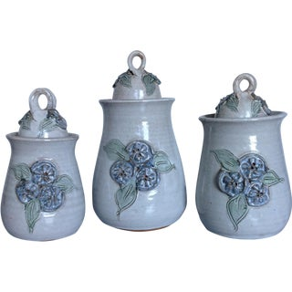 White Studio Pottery Vessels W/ Blue Flowers - S/3