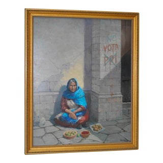 Vintage Mexican Fruit Vendor Oil on Masonite Painting