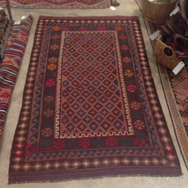 """Turkish Kilim With Hot Pink Pops - 7' X 4'1"""" - Image 2 of 6"""