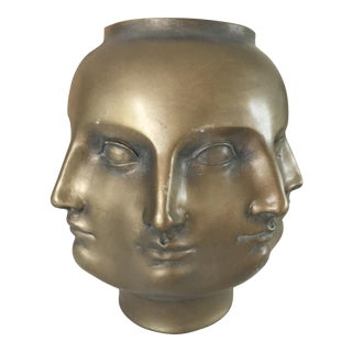 Pietro Fornasetti Style TMS 2005 Gold Perpetual Face Vase