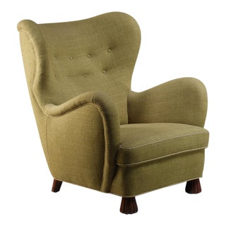 Otto Schulz High Back Armchair for Boet, Sweden, 1930s