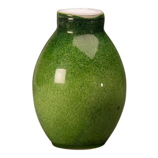 Contemporary glass vase of a luminous green colour from Italy