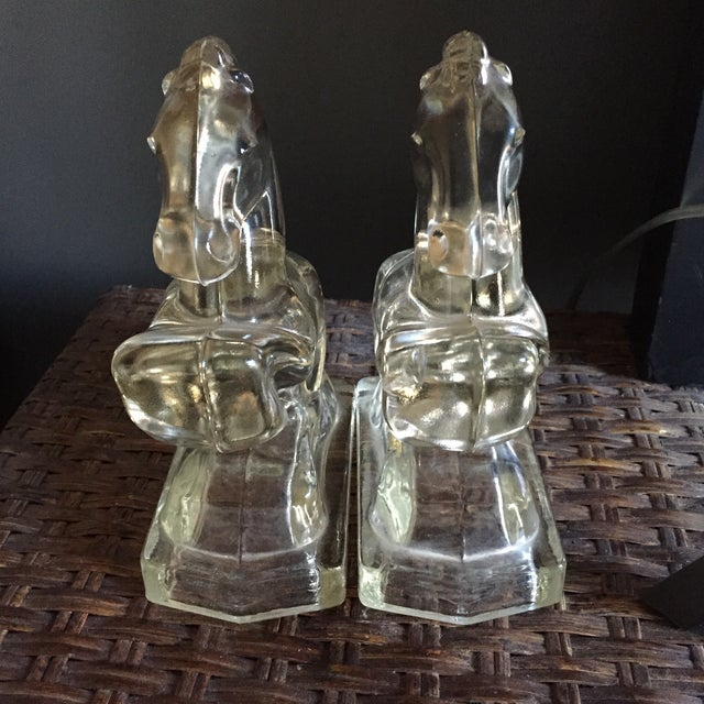 Image of Vintage Clear Glass Horse Bookends - A Pair