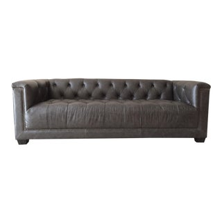 Contemporary Gray Leather Couch