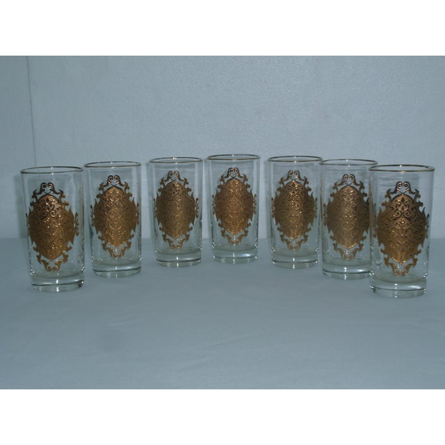 Hollywood Regency Gold Gilt Hi Ball Glasses - S/7 - Image 2 of 6