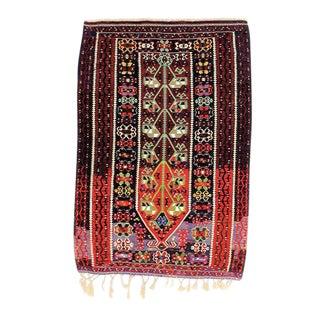 Vintage Red Turkish Kilim Rug - 4′ × 5′10″