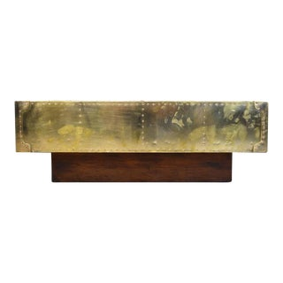 Sarreid Studded Brass Coffee Table on Plinth Base