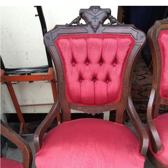 Victorian Eastlake Parlor Chairs - Set of 4 - Image 5 of 6