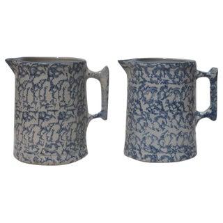 Pair of 19th Century Spongeware Pitchers