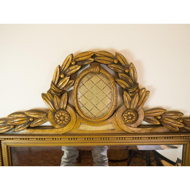 Image of Antique Carved Wood Beveled Italian Mirror