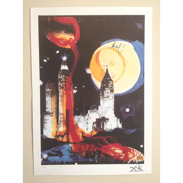 "Image of Salvador Dali ""Manhattan Skyline Tarot the Moon"" Original Limited Edition Lithograph"