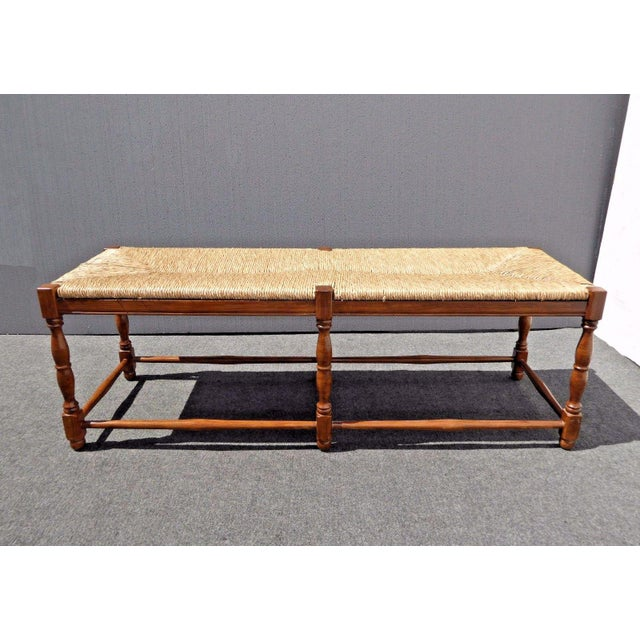 Ballard designs french country carved wood rye seat bench for Ballard designs bench seating