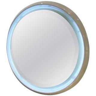 Round Lit Wall Mirror in Glazed Ceramic, France circa 1965