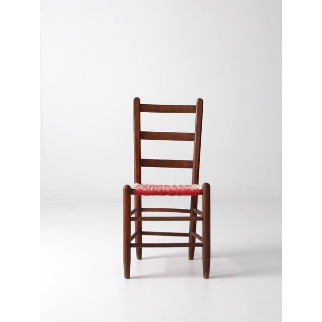Antique Ladder Back Upholstered Seat Chair - Image 3 of 8