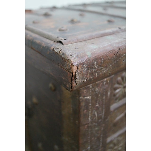 Antique Moroccan Iron & Brass Bound Lidded Chest - Image 7 of 10