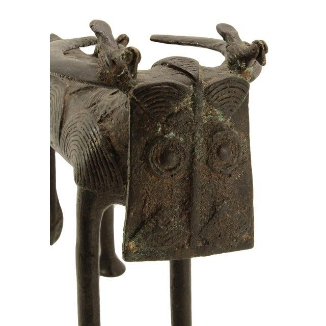 Image of Antique Benin Bronze Water Buffalo & Birds