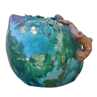 Chinese Oriental Ceramic Turquoise Green Peach Shape Display