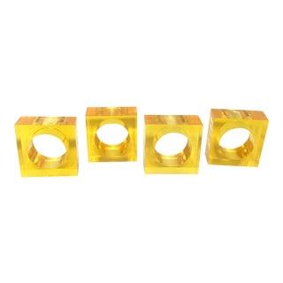 Bright Yellow/Orange Lucite Napkin Rings -S/4
