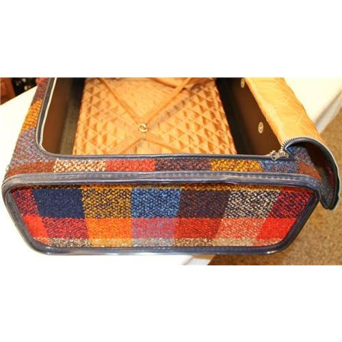 Vintage Bright Chenille Skyway Suitcase - Image 8 of 10