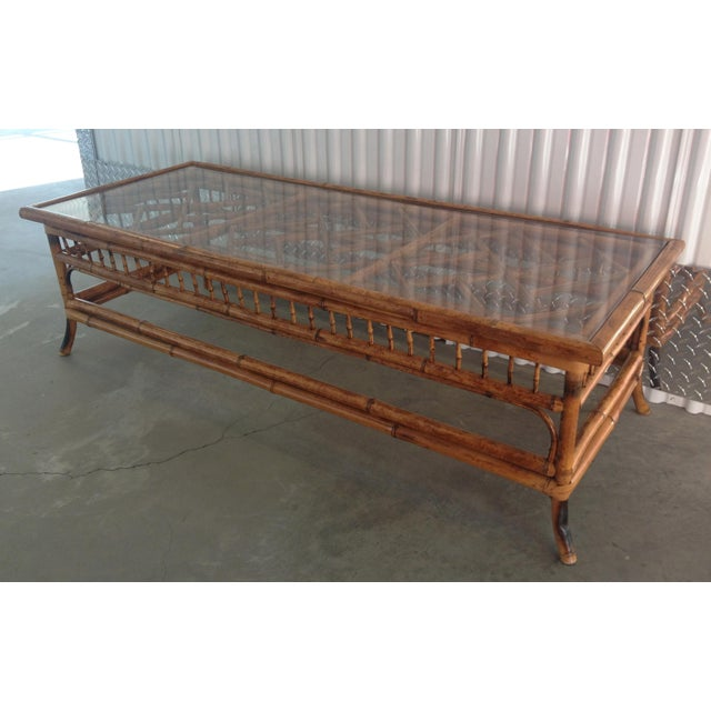 Vintage Glass Top Bamboo Coffee Table - Image 2 of 5