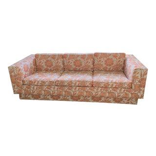 Mid Century Modern Milo Baughman Style Orange Indian Print Upholstery Plinth Base Sofa