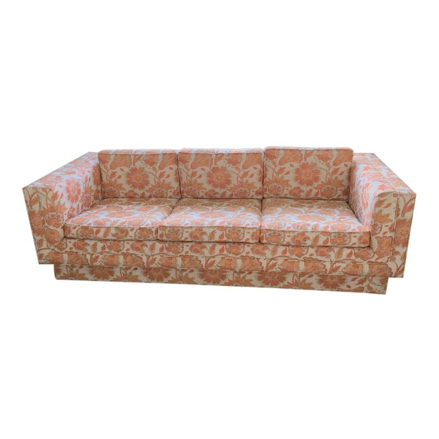 Mid Century Modern Milo Baughman Style Orange Indian Print Upholstery Plinth Base Sofa - Image 1 of 9