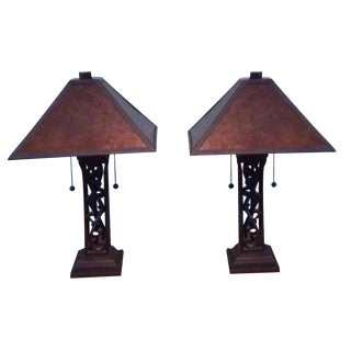 Mission Style Mica Shade Lamps - Pair