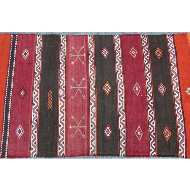 Orange Stripe Design Kilim Rug - 4' 3'' X 2' 6'' - Image 8 of 11