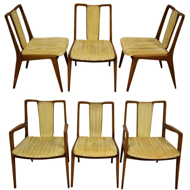 Mt. Airy Sculpted Walnut Dining Chairs - Set of 6 - Image 1 of 11
