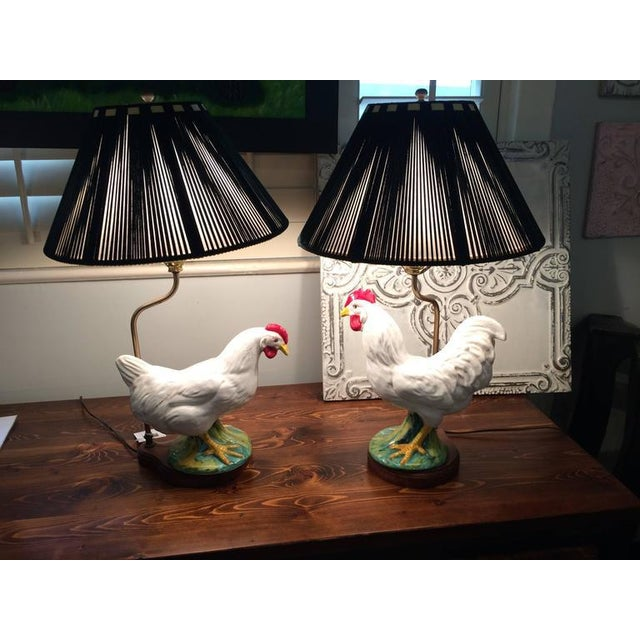 Vintage Ceramic Rooster Lamps - A Pair - Image 2 of 7